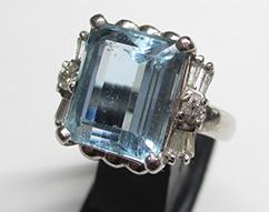 Pt900 アクアマリン 指輪 5.22ct