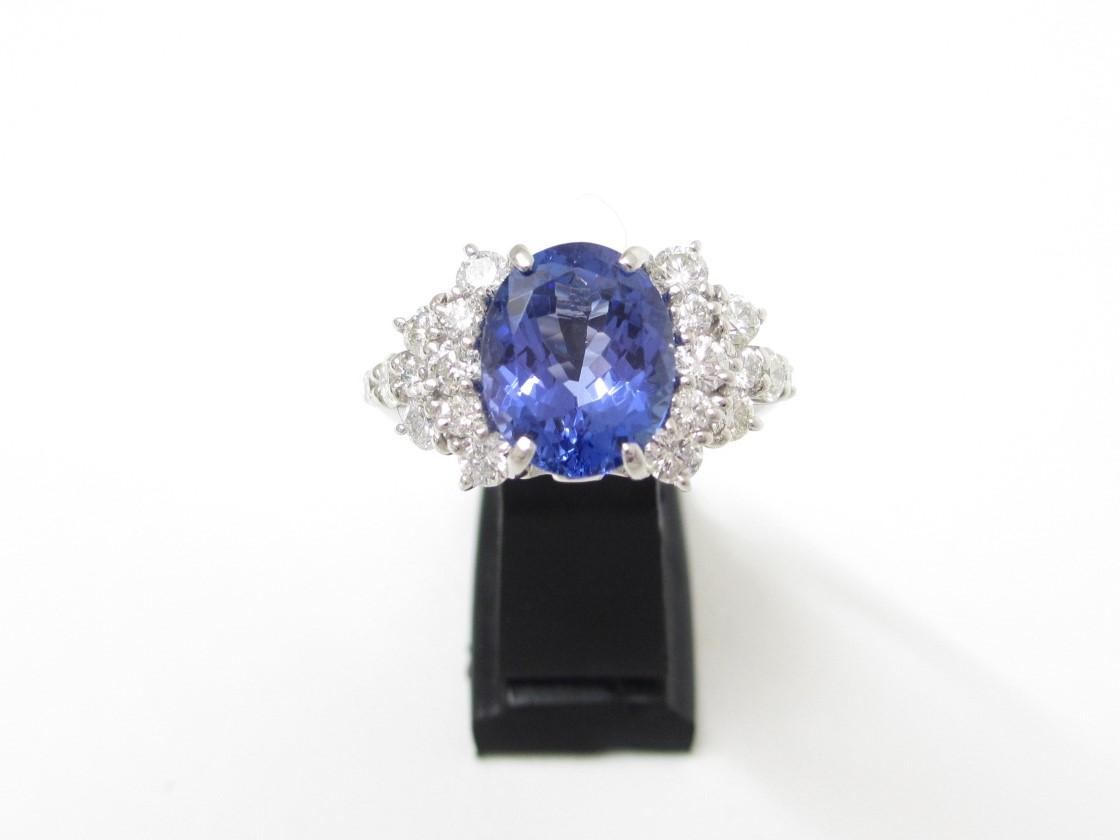 Pt900プラチナ 指輪 タンザナイト2.86ct ダイヤ1.02ct