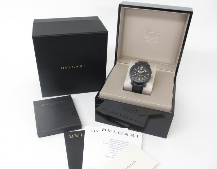 BVLGARI ブルガリブルガリ BB40CL カーボン×革ベルト メンズ腕時計