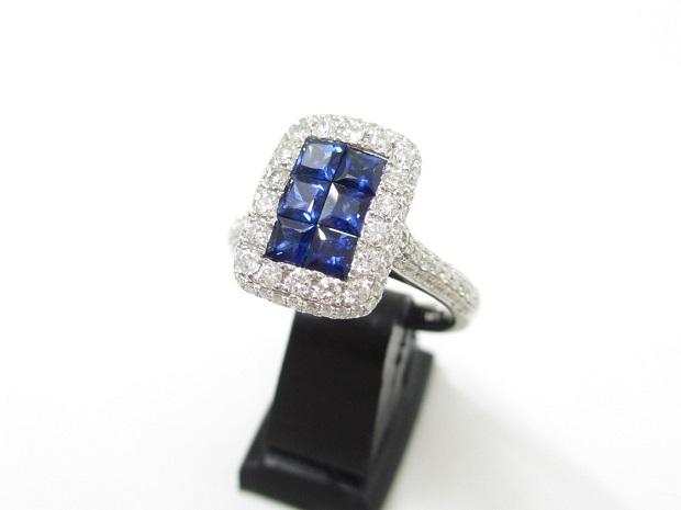K18WG 指輪 サファイヤ0.75ct ダイヤ1.05ct