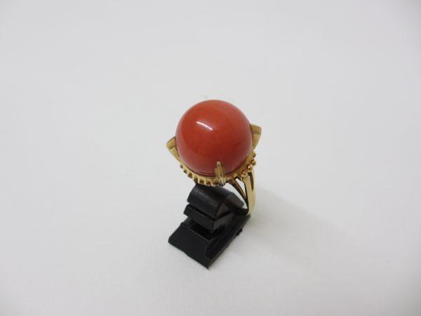 K18イエローゴールド サンゴ(珊瑚)指輪 16.5mm 12.5g