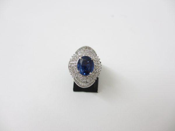Pt900プラチナ サファイヤ指輪 1.11ct ダイヤ0.577ct