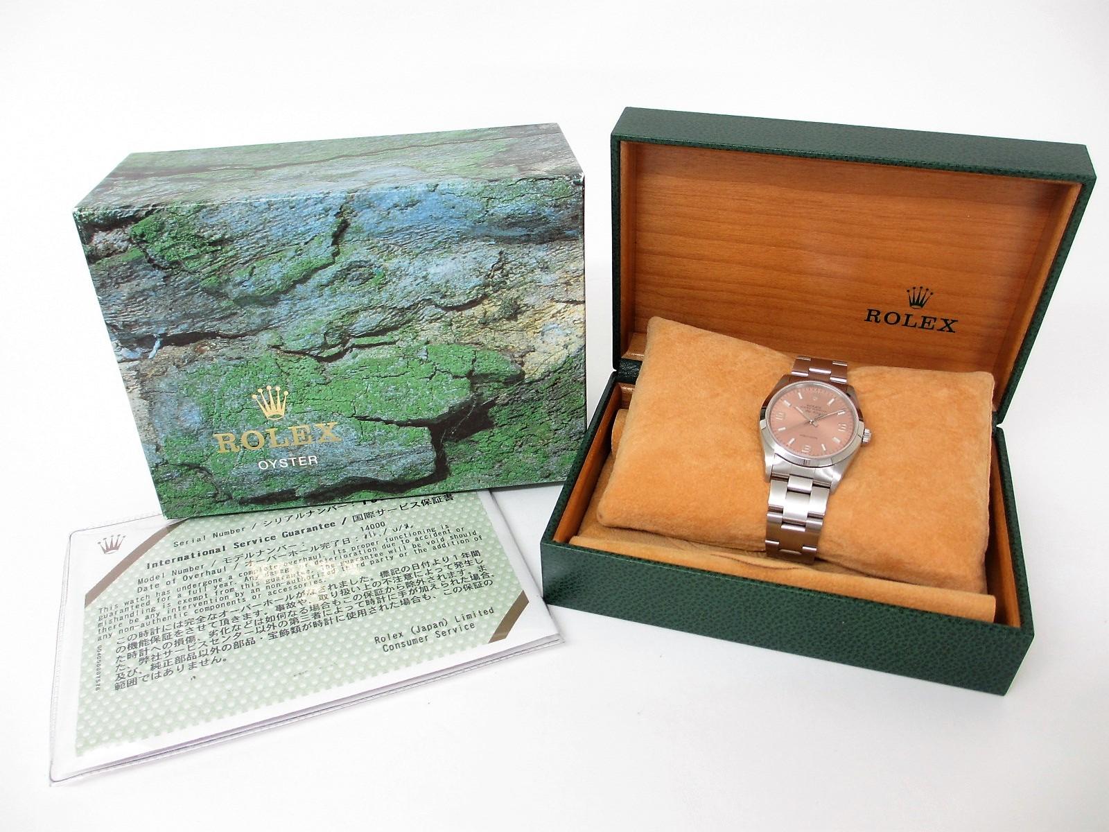 ROLEX ロレックス エアキング Ref.14000 P番(2000年製造)ピンク369アラビア文字盤