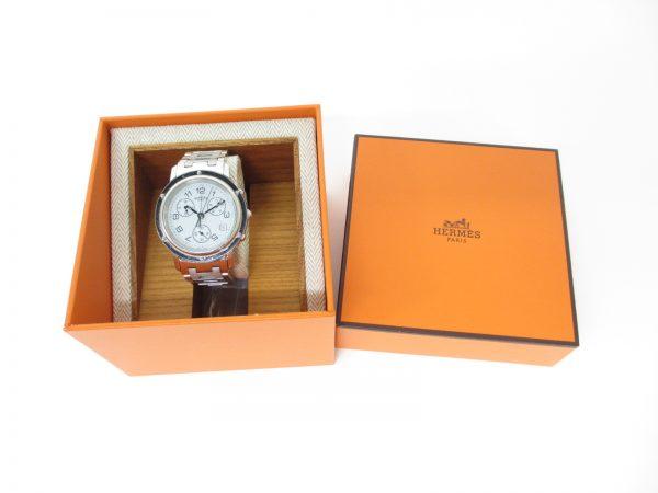 HERMES エルメス クリッパークロノグラフ CL1.910 メンズ腕時計(クロノグラフ不良)