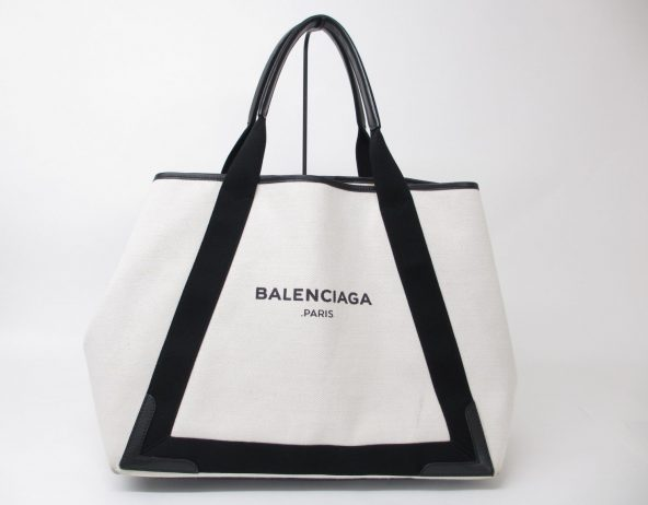 BALENCIAGA バレンシアガ ネイビーカバス 339936 トートバッグ キャンバス ホワイト