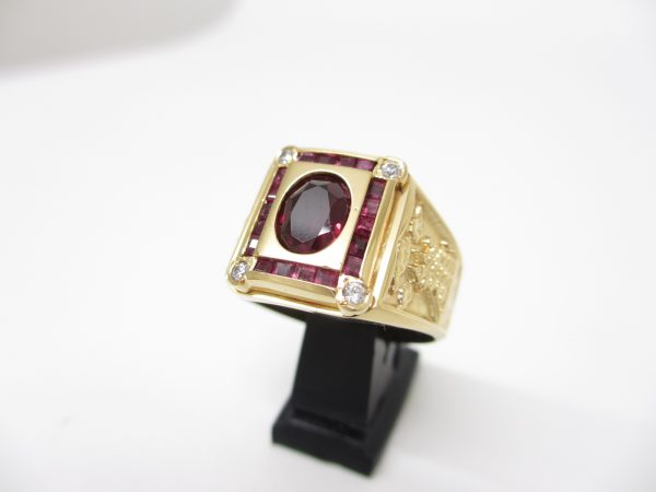 K18YG(イエローゴールド) ルビー×ダイヤ ファッション指輪