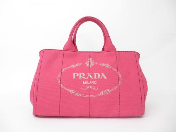PRADA プラダ カナパトート 1BG642 コットンキャンバス ピンク ハンドバッグ