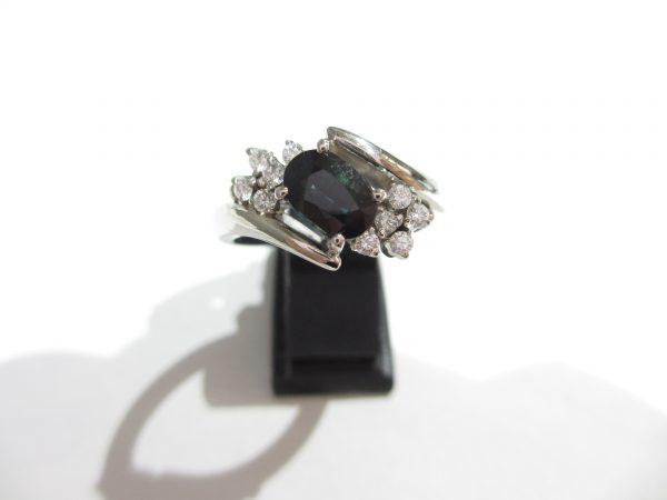 Pt900(プラチナ)指輪 サファイア1.15ct ダイヤ0.17ct
