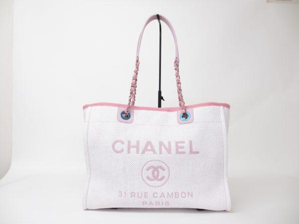 CHANEL シャネル ドーヴィル チェーントートバッグ ピンク×ホワイト A67001