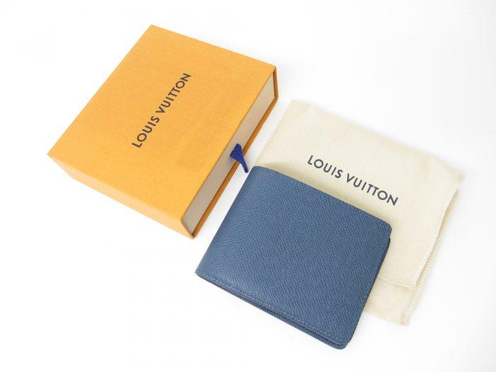 LV ルイヴィトン ポルトフォイユミュルティプル(メンズ二つ折り財布) タイガ ブルー M30679