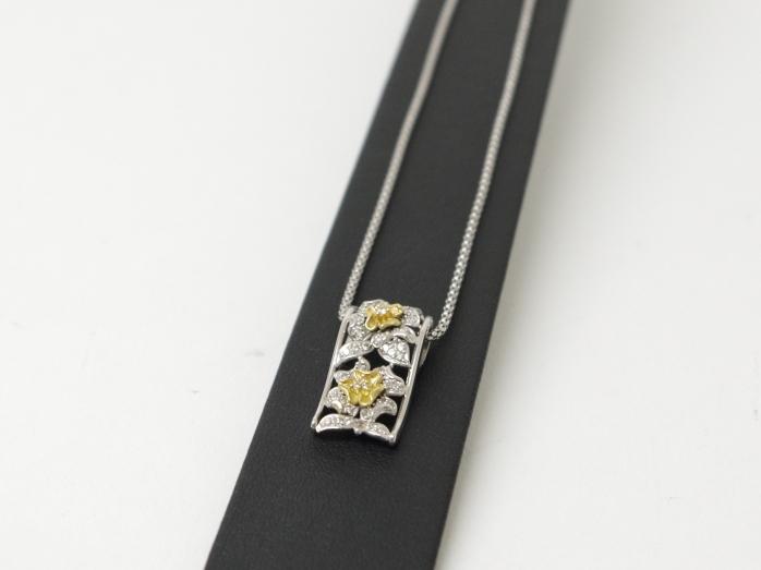 K18YG×K18WG ファッションネックレス ダイヤモンド0.50ct