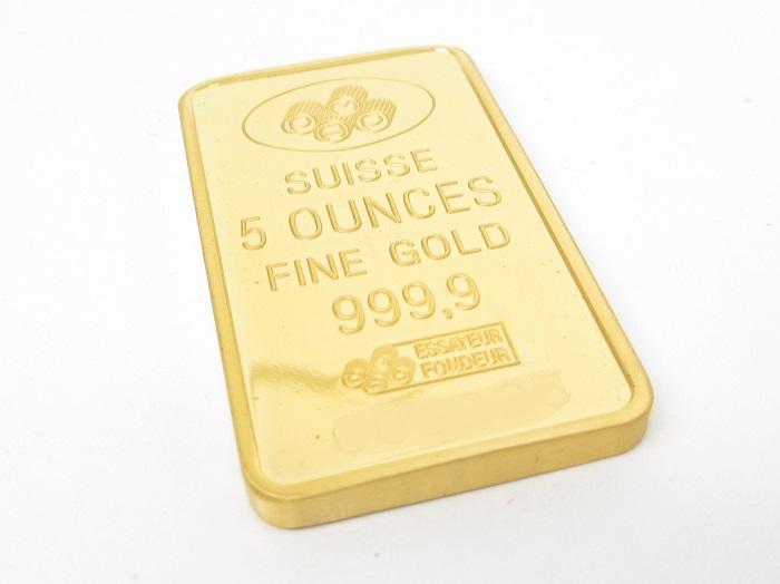 K24インゴットバー 純金製 PAMP(スイス) グッドデリバリー 5オンス (2018年12月時点。買取単価は毎日変動します)