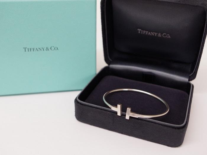 Tiffany&co. ティファニー K18WG Tナローワイヤーブレスレット(12月限定・査定金額5%UPキャンペーン価格!)