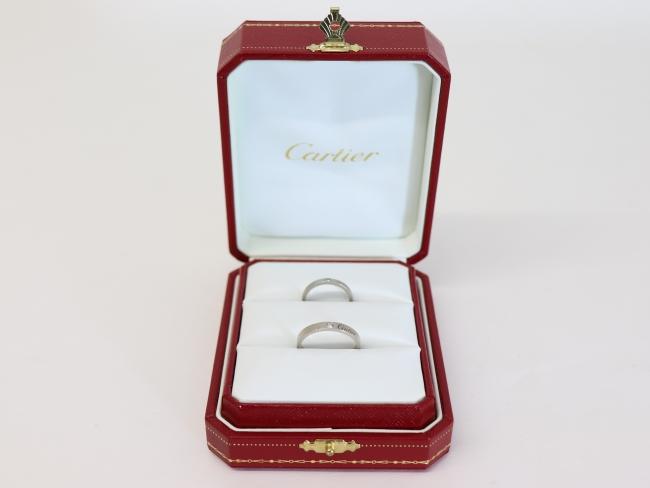 Cartier カルティエ Pt950 ウェディングリング ペア 1Pダイヤ