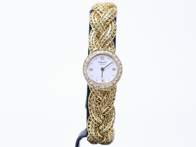 ショパール レディース腕時計 K18YG 金無垢 ベゼルダイヤ