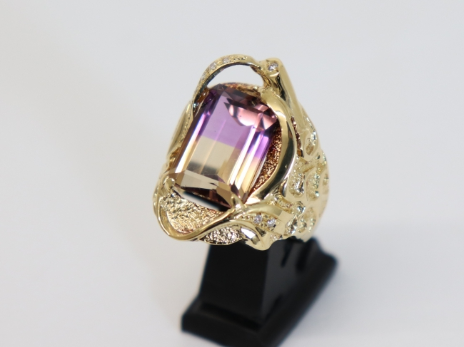K18イエローゴールド パーティカラードクォーツ 指輪