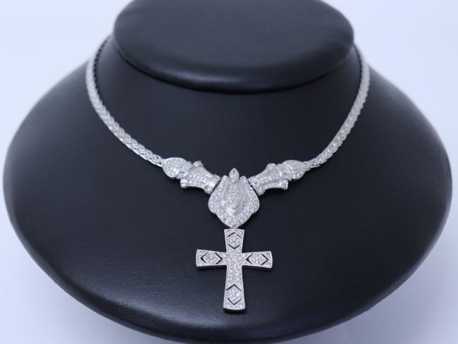 K18WG ネックレス ダイヤモンド 3.02ct 0.52ct 34.7g