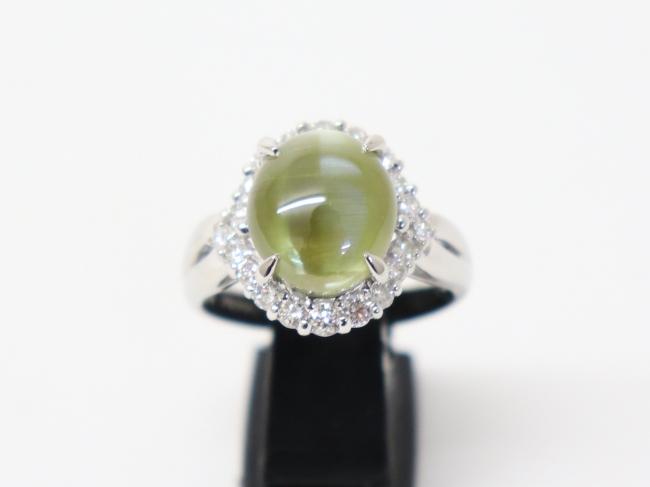 Pt900プラチナ 指輪 クリソベリルキャッツアイ9.52ct