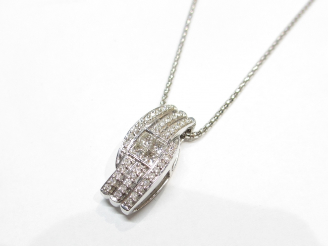 K18WG ネックレス ダイヤモンド0.75カラット
