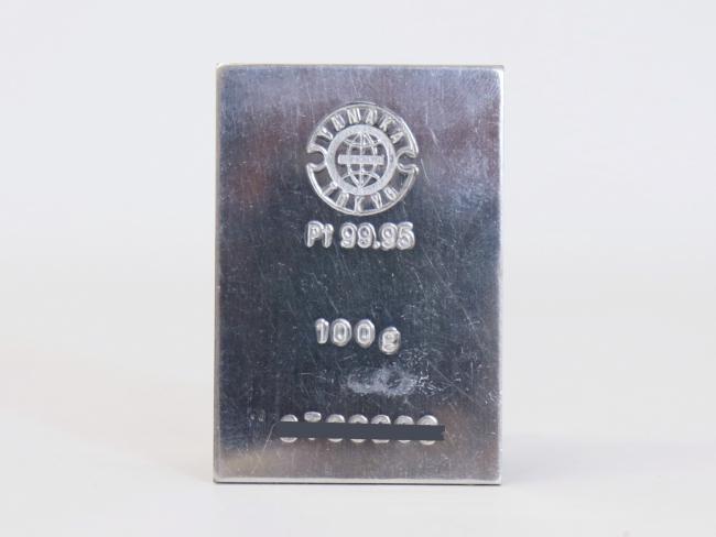 プラチナ Pt1000インゴットバー 田中貴金属製 100.0g(2020年6月現在。買取価格は毎日返変動します)