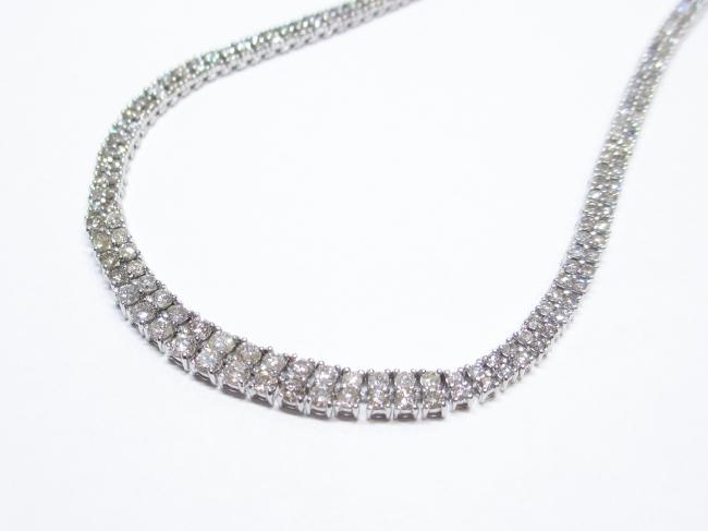 プラチナ(Pt850)ダイヤモンド 2連ネックレス D10.00カラット