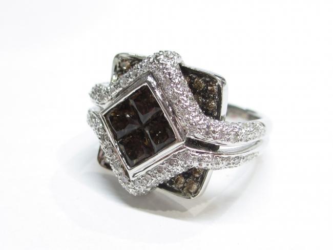 K18ホワイトゴールド ダイヤモンド デザインリング 9.9g