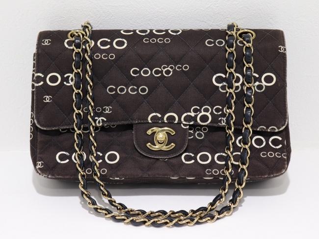 シャネル COCO ココプリント キャンバス チェーンショルダーバッグ