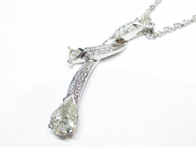 プラチナ ペアシェイプカット ダイヤモンド ネックレス 1.094ct