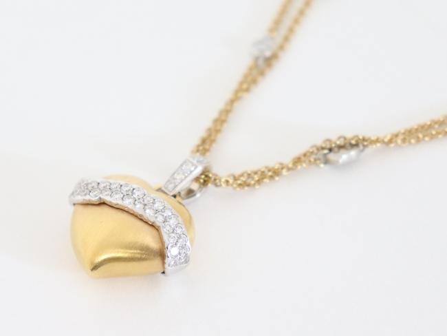 K18 ダイヤモンド 1.30カラット ハートモチーフ ネックレス