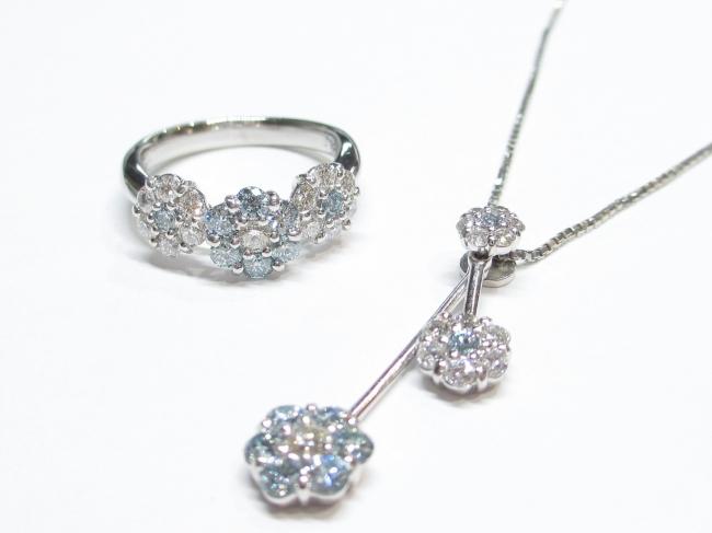 プラチナ ブルーダイヤモンド ネックレス・リングセット