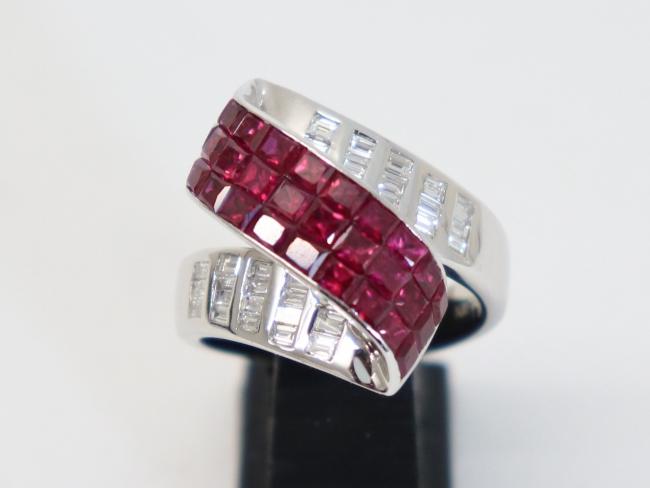 K18ホワイトゴールド ルビー×ダイヤモンド 指輪
